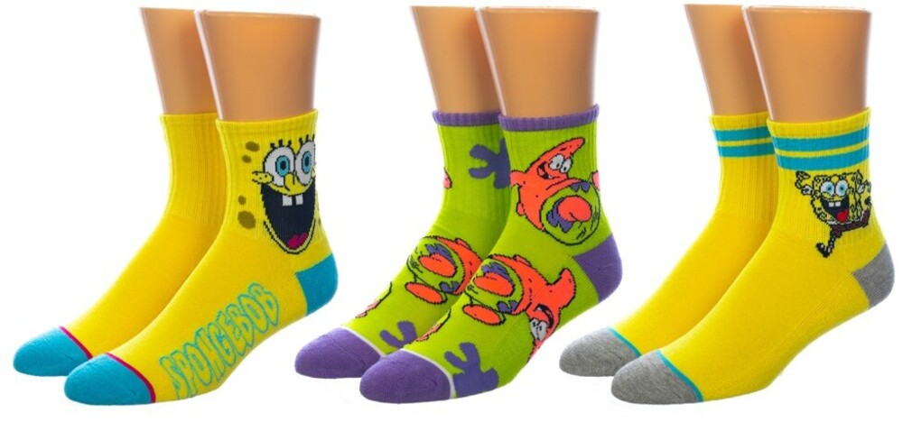 - Spongebob Squarepants 3pk Quarter Crew Socks 8-12