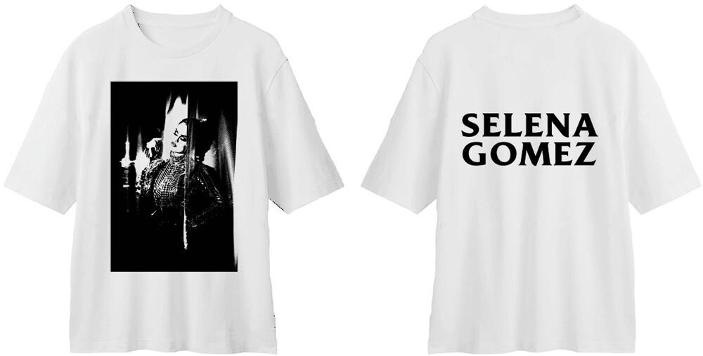 Selena Gomez - Selena Gomez Tonal Photo & Logo White Unisex Short Sleeve T-Shirt XL