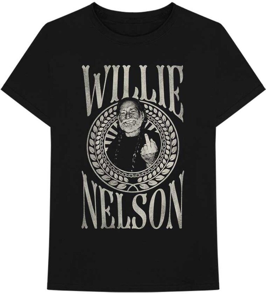 Willie Nelson - Willie Nelson Finger Crest Black Unisex Short Sleeve T-shirt Small