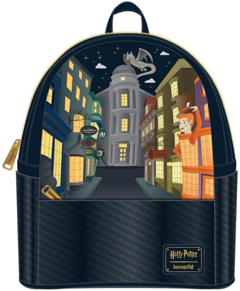 Loungefly Harry Potter: - Trilogy Triple Pocket Mini Backpack (Back)
