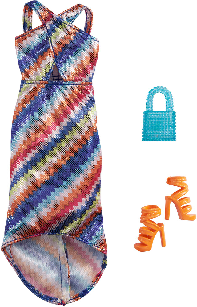 - Mattel - Barbie Complete Looks Fashion, Shimmery Striped Maxi Dress with Blue Purse and Orange Shoes