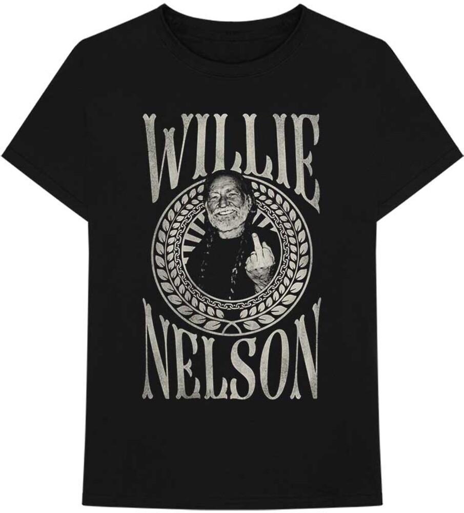Willie Nelson - Willie Nelson Finger Crest Black Unisex Short Sleeve T-shirt Large