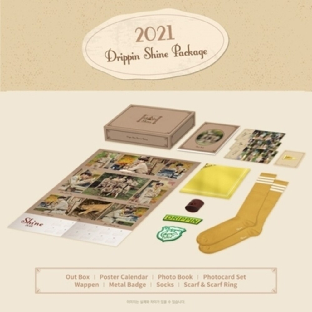 Drippin - 2021 Drippin Shine Package (incl. Poster Calendar, Photobook,Photocard Set, Wappen, Metal Badge, Socks + Scarf & Scarf Ring)