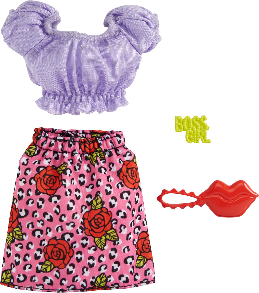 - Mattel - Barbie Complete Looks Fashion, Lilac Top with Rose Skirt and Red Lips Bag