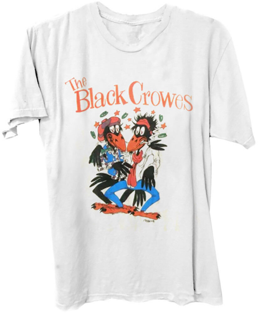 Black Crowes Sketch Logo White Ss Tee Large - The Black Crowes Sketch Logo White Unisex Short Sleeve T-shirt Large