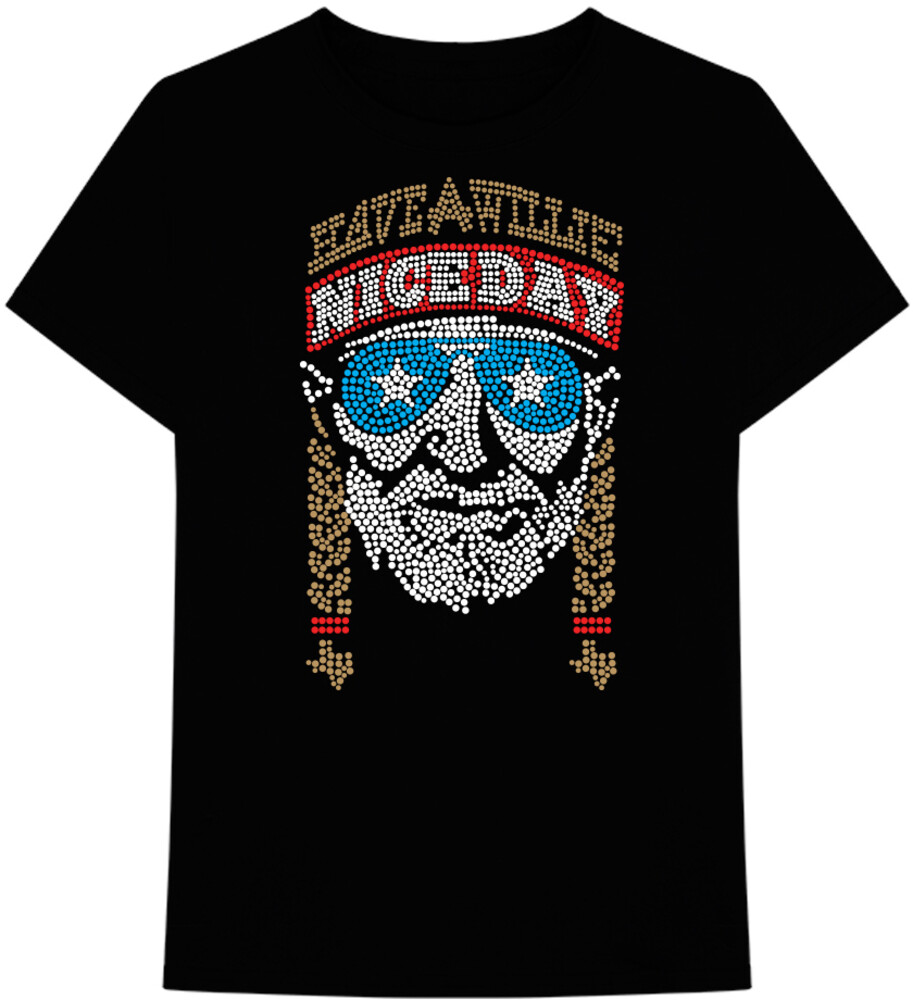 Willie Nelson Have a Willie Nice Day Ss Tee Xl - Willie Nelson Have A Willie Nice Day Black Unisex Short Sleeve T-shirtXL
