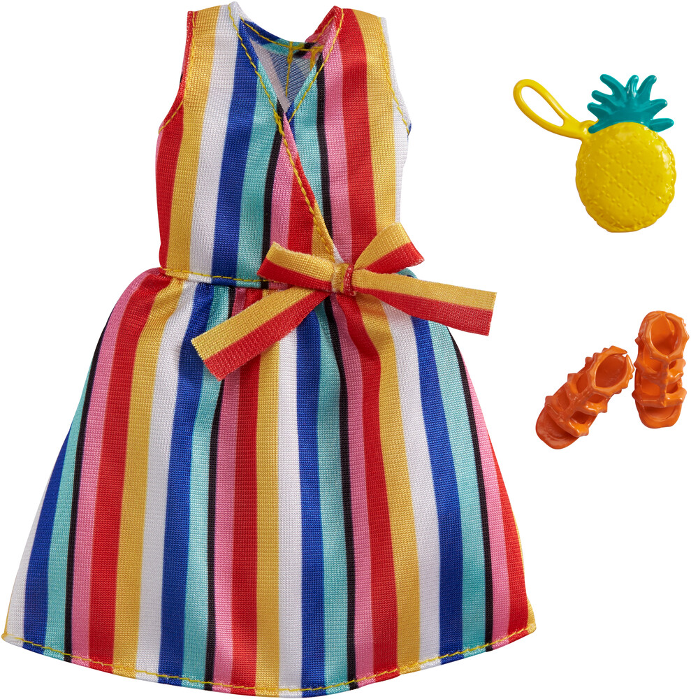 - Mattel - Barbie Complete Looks Fashion, Striped Dress with Orange Sandals and Yellow Pineapple Purse