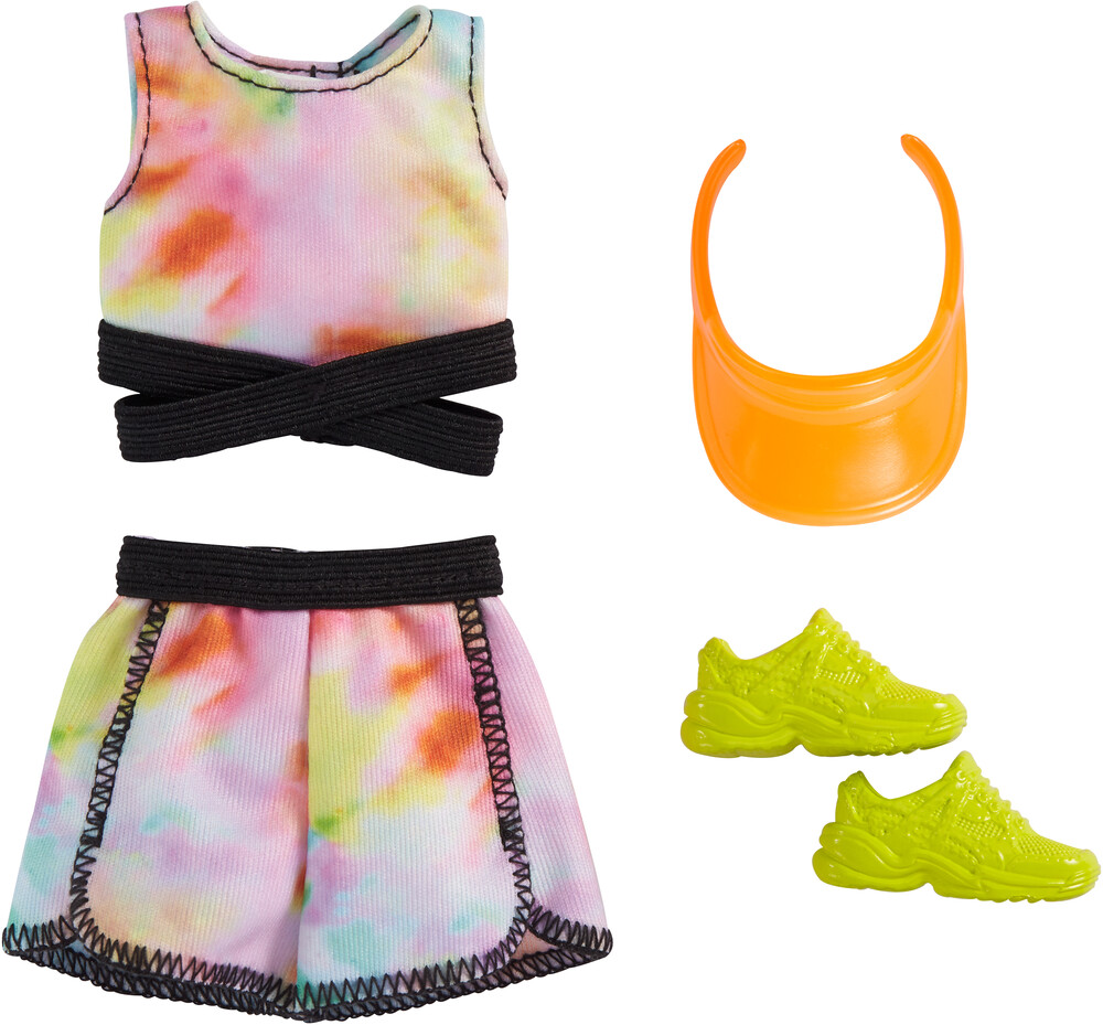 - Mattel - Barbie Complete Looks Fashion, Tie-die Top and Skirt with Yellow Shoes