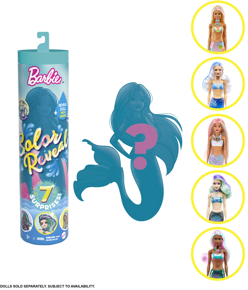 Barbie - Mattel - Barbie Color Reveal Doll: Mermaid Series, One Surprise Color Reveal with Each Transaction