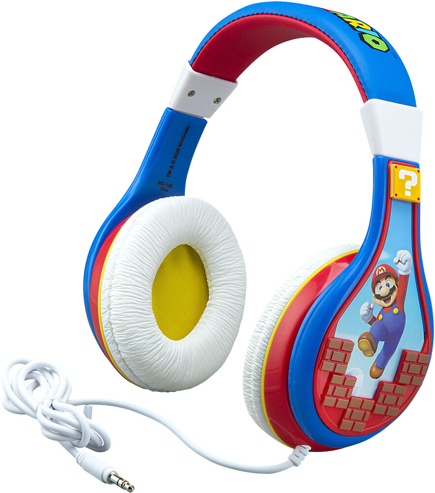 Super Mario Mo-140.Exv0 Youth Headphones Blue/Red - Super Mario MO-140.EXV0 Mario Bricks Youth Headphones On Ear WithVolume Limiting (Blue/Red)