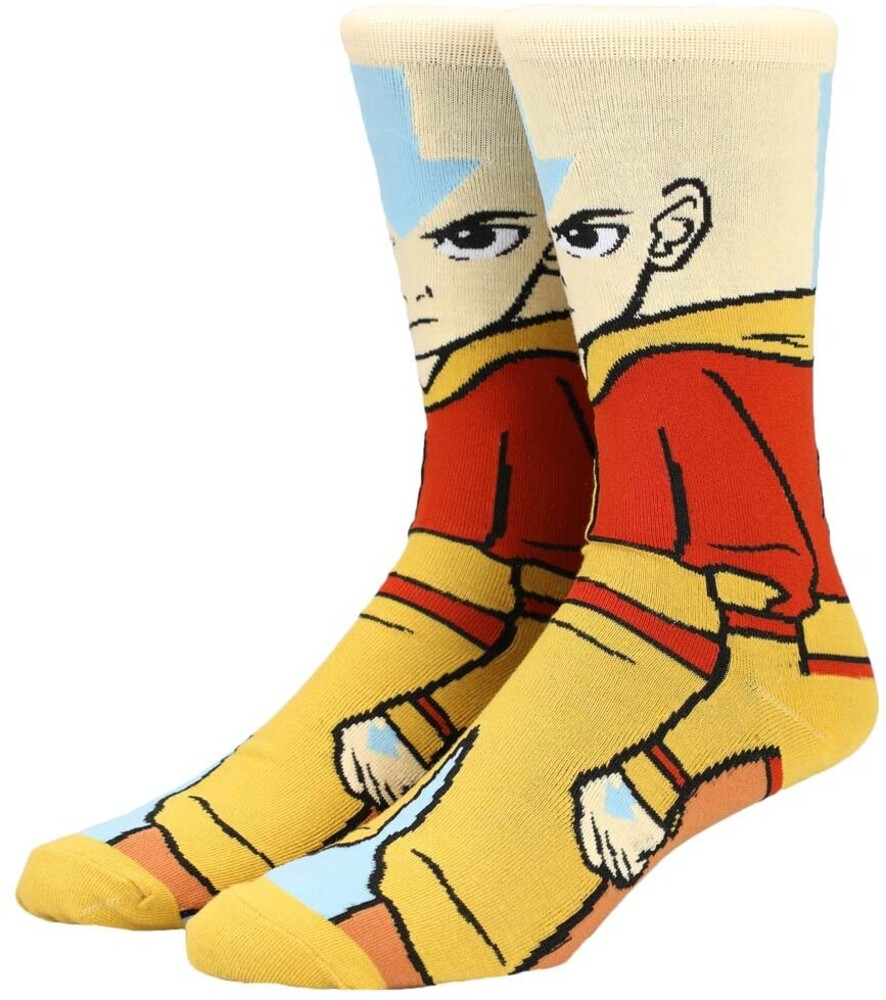 - Nickelodeon Avatar The Last Airbender Aang 360 Character CollectionCrew Socks Men's Shoe Size 8-12