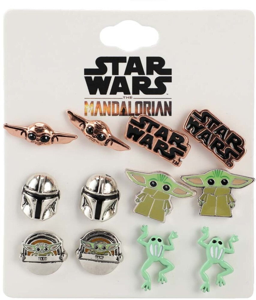 - Star Wars Mandalorian Grogu Stud Earrings 6 Pr Set
