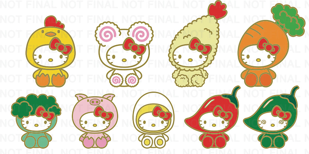 - NECA - Nissin Cup Noodles X Hello Kitty Enamel Pins 20 Piece BMB DS