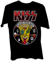 Kiss Hotter Than Hell Back Cover Logo Ss Tee M - KISS Hotter Than Hell 1974 LP Back Cover Art Logo Black Unisex ShortSleeve T-shirt Medium