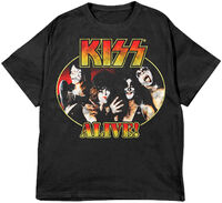 Kiss Alive! Portrait Black Ss Tee Large - KISS Alive! Portrait Black Unisex Short Sleeve T-shirt Large