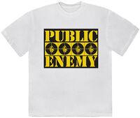 Public Enemy 4 Logos White Ss Tee Small - Public Enemy 4 Logos White Unisex Short Sleeve T-shirt Small