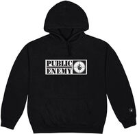Public Enemy Long Logo Black Unisex Ls Hoodie M - Public Enemy Long Logo Black Unisex Long Sleeve Hoodie Medium