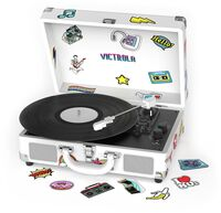 Victrola Vsc400sbcnv Bt Suitcase Trntbl Canvas Wht - Victrola VSC-400SB-CNV Bluetooth Suitcase Turntable Canvas With Custom Stickers and Stencils (White)