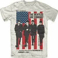 The Beatles - The Beatles Are Coming Live In America For The First Time Washington DC February 11, 1964 Sand Unisex Short Sleeve T-Shirt Large