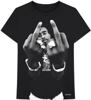 2pac - Tupac B&W Middle Finger Black Unisex Short Sleeve T-shirt 2XL