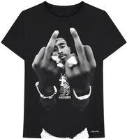 2pac - Tupac B&W Middle Finger Black Unisex Short Sleeve T-shirt 2XL