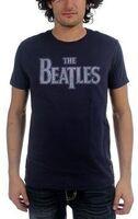 The Beatles - The Beatles Vintage Drop T Logo Navy Blue Unisex Short Sleeve T-Shirt Small