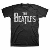 The Beatles - The Beatles Distressed Drop T Logo Black Unisex Short Sleeve T-Shirt Large