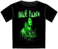 Billie Eilish - Billie Eilish Green Photo Black Unisex Short Sleeve T-shirt Medium