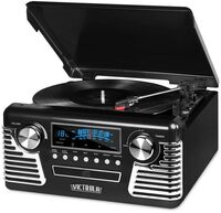 Victrola V50200Blk Retro Bt 7/1 Music Ctr Cass Blk - Victrola V50200blk Retro Bt 7/1 Music Ctr Cass Blk