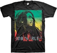 Bob Marley Gradient Stencil Black Ss Tee L - Bob Marley Gradient Stencil Black Unisex Short Sleeve T-shirt Large