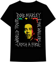 Bob Marley Catch a Fire Black Ss Tee Xl - Bob Marley & The Wailers Catch A Fire World Tour Handwritten FrameBlack Unisex Short Sleeve T-shirt XL