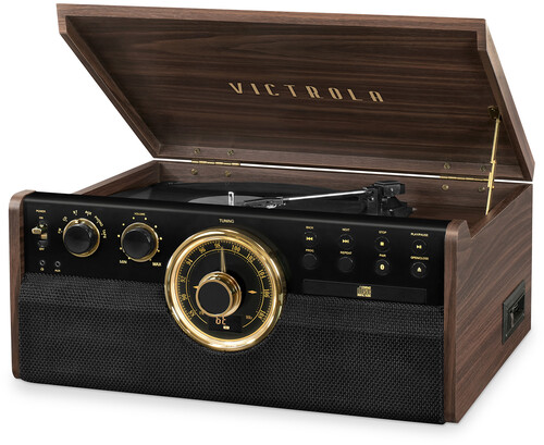Victrola Vta270Besp Empire 6in1 Ent Cntr Bt Esprss - Victrola VTA-270B-ESP Empire 6-in-1 Mid Century Turntable Music Enter) tainment Center With Bluetooth Wireless FM Radio CD Casse