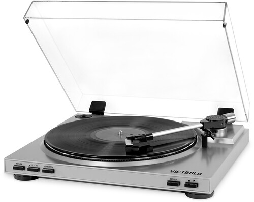 - Victrola VPRO-3100-SLV Professional Series USB Turntable FullyAutomactic 2 Speed Belt Drive (Silver)