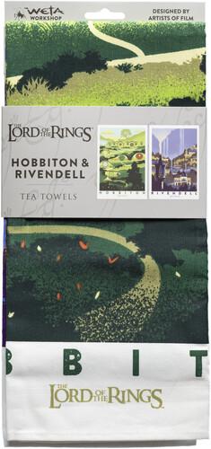 LOTR: TEA TOWEL - RIVENDELL & HOBBITON 2PK