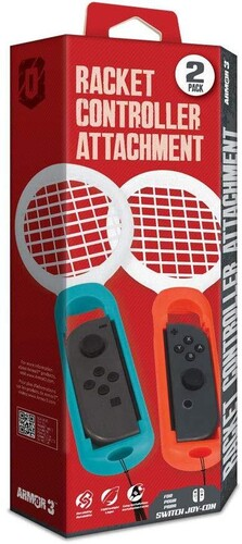 - Armor3 Racket Controller Attachment for Switch Joy-Con (Blue/ Red)(2-Pack)