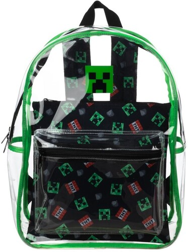 MINECRAFT CREEPER CLEAR BACKPACK W REMOVABLE POUCH