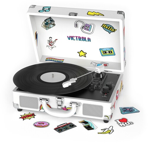 Victrola Vsc400sbcnv Bt Suitcase Trntbl Canvas Wht - Victrola VSC-400SB-CNV Bluetooth Suitcase Turntable Canvas With CustomStickers and Stencils (White)