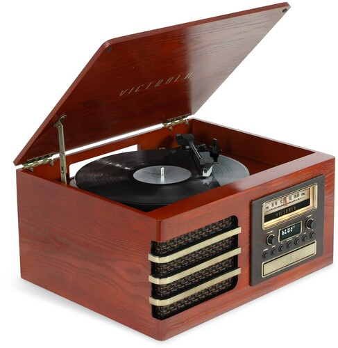 Victrola Vta380sbmah Ellington Bt 7/1 Ent Sys Brwn - Victrola VTA-380SB-MAH Ellington Dual Bluetooth In/Out 7 In 1Entertainment System With CD Cassette FM Turtable 3 Speed Real Wood