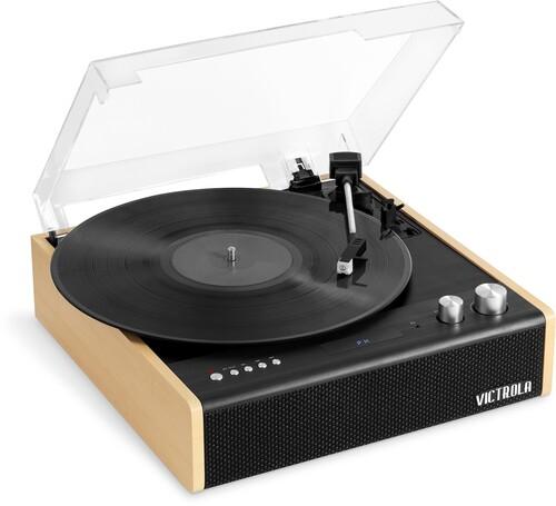 Victrola Vta72Bam Eastwood Bt Trntbl Black/Brown - Victrola VTA-72-BAM Eastwood Dual Bluetooth In/Out Turntable 3 SpeedFM Radio With Built In Speakers (Black/Brown)