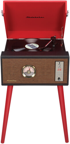 Studebaker Sb6085rd Bt Stand Turntable Ent Ctr Red - Studebaker SB6085RD Bluetooth Wireless Floor Stand Turntable 3 SpeedsCD Player FM Radio With Built in Speakers (Red)