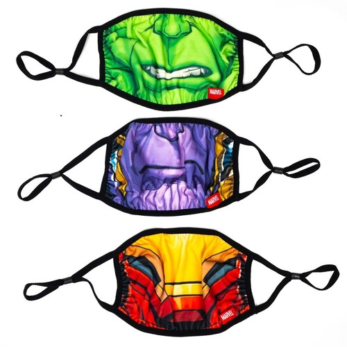 MARVEL BIG FACE ADULT ADJUSTABLE FACE COVERS 3 PK