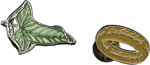 LORD OF THE RINGS PIN SET - ELVEN LEAF & ONE RING