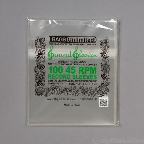BU SPP45R 45 RPM OUTER SLV RESEALABLE 100 CNT CLR