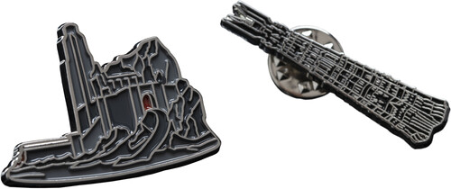 LORD OF THE RINGS PIN SET - HELMS DEEP & ORTHANC -
