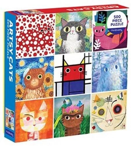 Mudpuppy - Artsy Cats 500 Piece, Family Puzzle