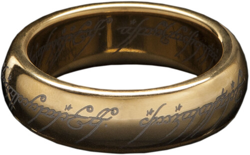Lord of the Rings The One Ring (with runes) - Gold Plated Tungsten,Size 6